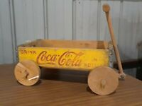Vintage Yellow Red Coke Coca-Cola Advertising Wooden Bottle Crate Wagon Toy
