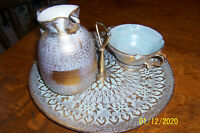 VINTAGE STANGL POTTERY Gold & Blue Serving Set Pitcher Bowl Plate with handle