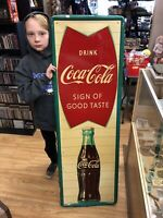 "Large Vintage 1960S Coca Cola Fishtail Soda Pop Gas Station 54"" Sign Metal."