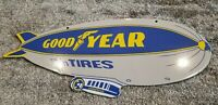 VINTAGE GOODYEAR TIRES PORCELAIN GAS SERVICE BLIMP DOUBLE SIDED DEALERSHIP SIGN