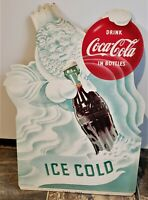 Vtg Original Coca Cola Ice Cold Winter Wind Store Display Die Cut Sign 1953