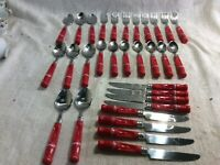 31 Pc Red handle  Coca-Cola Coke Stainless Flatware Silverware Gibson Housewares