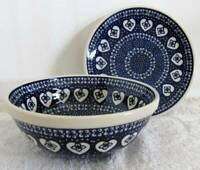 Boleslawiec Polish Pottery SET: Soup Cereal Salad BOWL & Salad PLATE Hearts NEW