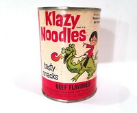 Vintage 1966 Klazy Noodles Chinese Maid Kosher Snack Food Gas Oil Can LOOK  READ