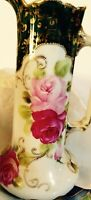 NIPPON UNSIGNED BEAUTIFUL VINTAGE FLORAL PITCHER / CARAFE