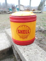 VINTAGE 5 GALLON GAS CAN with SHELL OIL COMPANY CLAM SHELL LOGO WOOD HANDLE