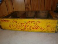 Vintage Yellow Coca-Cola Coke Wooden Soda Crate RARE 24 Bottles estate find