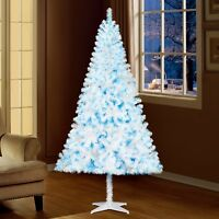 Holiday Time 6.5ft Pre-Lit Madison Pine Christmas Tree White W/ Blue Lights NEW