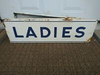 Vintage Porcelain Art Deco Ladies Restroom Double Sided flanged Sign