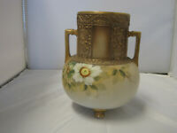 Antique Nippon Vase/Urn Gold Gilt Hand Painted Flowers, Beautiful, Moriage