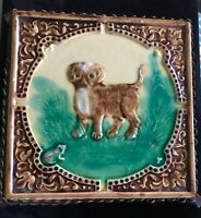Vintage Hand-Painted Faience Majolica Dog Frog Trivet Tureen Green Brown