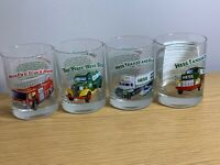 1996 Hess Toy Truck Glasses (4) Collectors Series with Advertising Sign