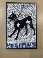 Vietri pottery-Attenti al Cane 6x6 inch wall tile.Made/painted by hand in Italy