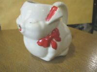 McCoy USA Pottery PUSS N BOOTS Cat Kitten CREAMER Red Bow Good
