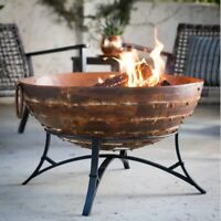 Wood Burning Cast Iron Fire Pit Outdoor Backyard Patio Iron Round Bowl Standing
