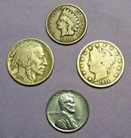 1 Mix Lot of 4 Old US Coins NO LONGER FOUND IN POCKET CHANGE
