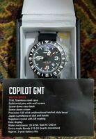 Trintec Aviation Co-Pilot GMT Men Stainless Steel Watch Rubber Band