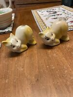 2 Vintage  Nelson McCoy Pottery McCoy ? Mini Miniature Cat  Vase Planter
