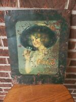 Antiqie Distressed Pitted Coca Cola Gibson Girl Metal Sign