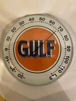 NEW VINTAGE STYLE GULF MOTOR OIL THERMOMETER GAS STATION Wall 12 x12 GLASS face