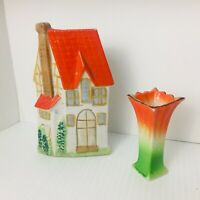 Vintage House Shaped Wall Pocket and Free Standing Small