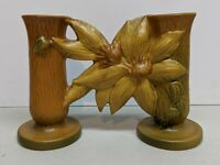 Vintage Roseville Pottery Brown Clematis Double Bud Vase 194-5