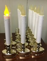 14 Battery Operated Brass Base Flickering Window Taper LED Candles Auto Timer