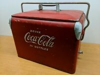 Rare Size!! Vintage Coca-Cola Ice Chest 1950s Metal Cooler Lid Bottle Opener