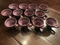 VIETRI Cucina Fresca Set Of 12 Mugs Cups Eggplant Purple