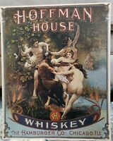 Vintage Tin Sign Hoffman House Whiskey The Hamburger Co: Chicago ILL.