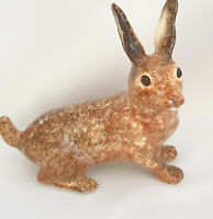 Winstanley Pottery Size 3 Brown Standing Hare Rabbit Glass Eyes Signed Purrfect