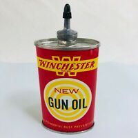 VINTAGE OVAL LEAD TOP WINCHESTER GUN OIL 3 OZ. OIL CAN