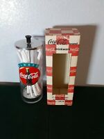 Large Vintage Glass Coca Cola Straw Dispenser