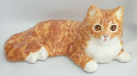 Jenny Winstanley Pottery Size 6 Ginger Cat Cathedral Glass Eyes Signed Purrfect