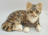 **Winstanley Pottery Size 2 Cat Kitten Cathedral Glass Eyes Signed Purrfect**
