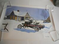 Pepsi Poster Model T at Christmas Scene Print 26x18 Signed By John Hale