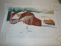 Pepsi Poster Winter Scene Red Barn Print 26x18 Signed By John Hale