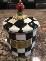 Mackenzie Childs Enamel Small Courtly Check Canister, NEW