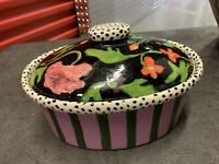 """DROLL DESIGNS CERAMIC 10""""W. OVAL COVERED CASSEROLE, wonderful painting."""