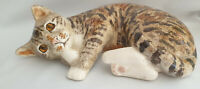 **Winstanley Pottery Size 5 Cute Cat Cathedral Glass Eyes Signed Purrfect*