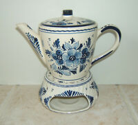 Vintage Hand Painted Ceramic Delft Blue Tea Coffee Pot With Warmer