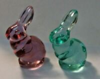 Lot of 2 Vintage FENTON GLASS BUNNY - Translucent - 1 Pink and 1 Green