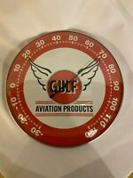NEW VINTAGE STYLE GULF Aviation MOTOR OIL THERMOMETER GAS STATION 12x12 Glass