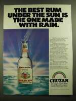 1981 Cruzan Rum Ad - The Best Rum Under The Sun is Made With Rain