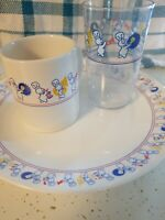 Pillsbury Doughboy Poppin'Fresh Marching Band Plate cup and Plastic glass 1991