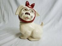 Vintage Brush McCoy Muggsy Dog with Toothache Cookie Jar Red Bow. READ!