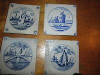 FOUR 1700,S DELFT HAND DONE FIREPLACE TILES