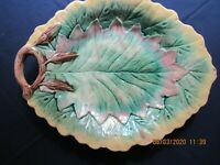 ANTIQUE MAJOLICA BEGONIA DISH, LARGE, COLORFUL