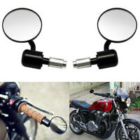 Universal Bar End Mirrors 7 8quot; Black Aluminum Motorcycle For Cafe Racer Bobber $18.99