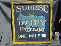 VINTAGE ANTIQUE METAL HAND PAINTED SIGN JERSEY COW 'SUNRISE DAIRY' W/ FRAME